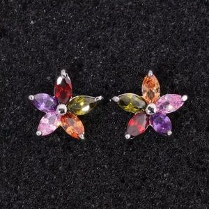 Garnet Amethyst Peridot Morganite Silver Earrings